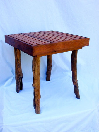 Small dark table - cedar with found-wood legs, natural oil finish