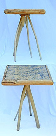Matching end tables - peeled maple branches with painted top