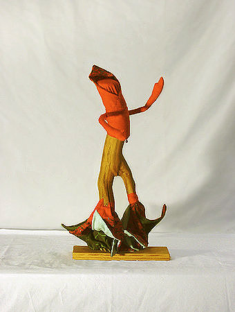 Flare Dancer - wood, fabric, glass beads