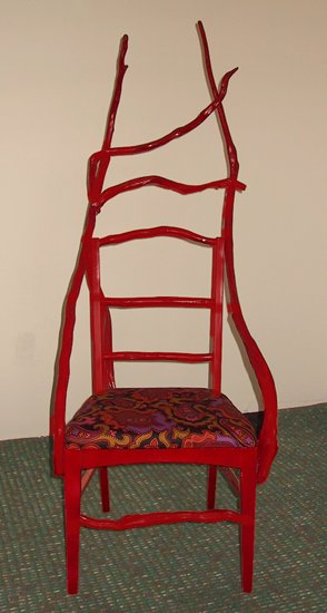 Red chair - various wood, enamel paint, foam cushion