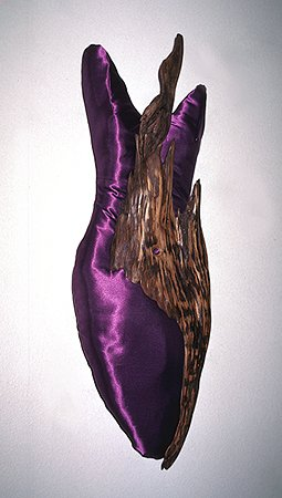 Purple Satin Torso - cedar and satin